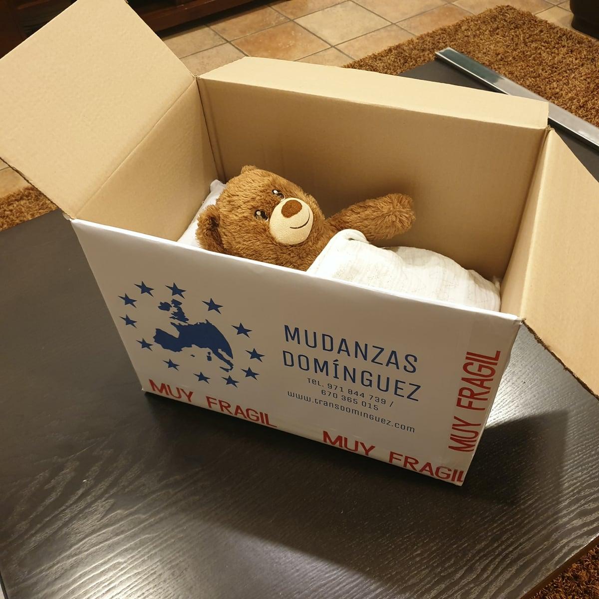Mudanzas y transportes en Mallorca TransDomínguez - Caja de cartón con enseres personales